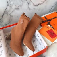 Hermes Knit Ankle Boot