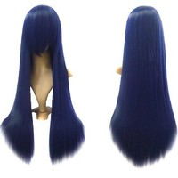 """MapofBeauty 32"""" 80cm Long Straight Anime Costume Cosplay Wig Party Wig (Dark Blue)"""
