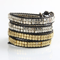 Gold and Silver Mix Wrap Bracelet