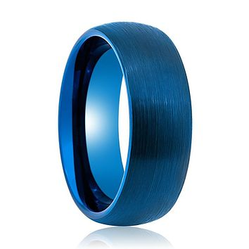 Domed Blue Tungsten Carbide Wedding Ring with Brushed Finish