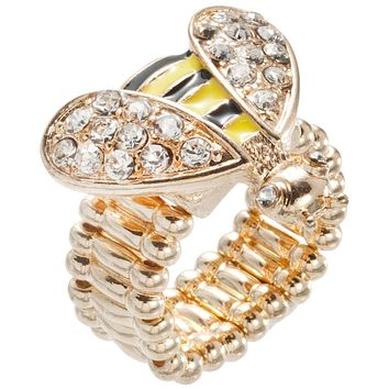Bee Body With Rhinestone Wings Adjustable Ring