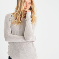 AEO Shoulder-Stitch Sweater, Holiday Heather Brown