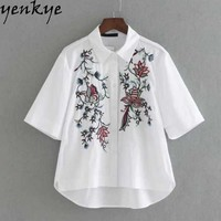 Women Embroidery White Blouse Shirt Turn-down Collar Short Sleeve High Low Ladies Shirts Brand Tops