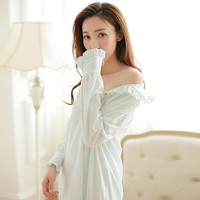 Anne Hathaway Austin Vintage Cotton Nightgown White Pijamas Women Night Shirt Female Robe Sleepwear Night Dress Plus Size B3891
