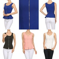 Sexy Fitted and Flared Bottom Sleeveless Peplum Tank Top with Exposed Zipper Front
