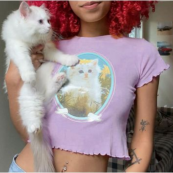 T-shirt with crew neck and kitten print