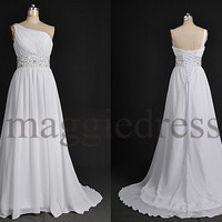 Custom White Beaded One Shoulder Long Prom Dresess Bridesmaid Dresses Evening Gowns Party Dresess Homecoming Dress Party Dress Formal Wear