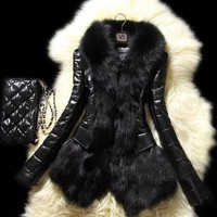Luxury Women's Faux Fur Coat Leather Outerwear Snowsuit Long Sleeve Jacket Black!LS0045 = 1931780356