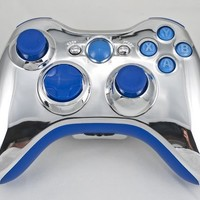 Drop shot, Auto-aim, Jitter Xbox 360 Modded Controller COD Ghosts, MW3, Black Ops 2, MW2, Rapid fire mod (Silver Chrome/Blue V2.0)