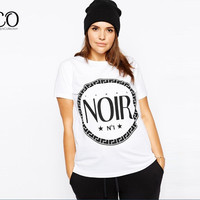 Street Noir Letter Print Tumblr T-Shirt Summer Short Sleeve Basic Tee Women Tops Plus Size White Easy Harajuku Tshirt 5xl 6xl
