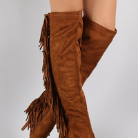 Rear Fringe Over-the-Knee Stiletto Boots