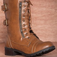 Reneeze March In Place Alice-3 Two Zipper Mid Calf Lace Up Combat Boots - Camel