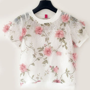 Floral Lace Applique Short Sleeve Cropped Top