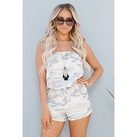 Can't Back Down Strapless Romper (Ivory Camo)
