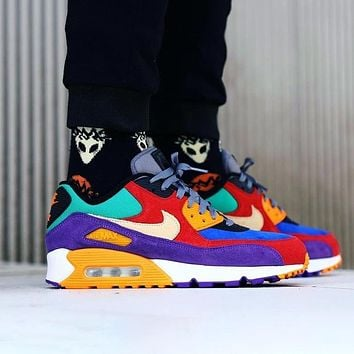"Nike Air Max 90 QS ""Viotech"" egg stitching Men's and women's fashion leisure sports air cushion running shoes"