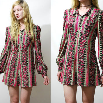 70s Vintage MINI DRESS Floral Print Jersey Long Puff Bell Sleeves Boho Bohemian Hippie 1970s vtg XS S
