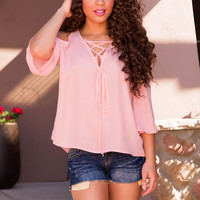 Gia Lace Up Top - Blush