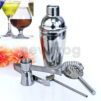 Free Shipping Bar Sets Practical 5Pcs Stainless Steel Cocktail Shaker Mixer Drink Bartender Kit Eco-Friendly Bars Set Tools