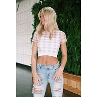 Everlee Mesh Checked Crop, White/Taupe