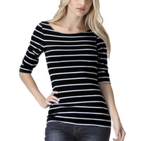 3/4 Sleeve Striped Knit Top