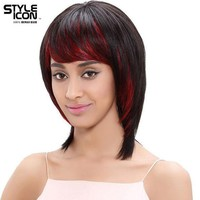 Styleicon Brazilian Hair Wig 12 Inch Short Human Hair Wigs For Women Color Hl1b/red Machine Made Free Shipping
