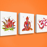 Yoga Studio Decor, Set of 3 Canvas, Buddha Wall Art, Canvas Print Set, Buddhist Decor, Spiritual Art, Meditation Room, Buddha Canvas Decor