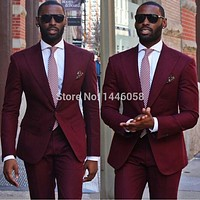 High Quality 2017 Formal Wear Burgundy Mens Wedding Suits Tuxedos For Men Groom Best Man Suits Custom Made (Jacket+Pants+Tie)