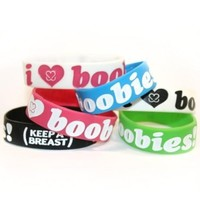 Keep-A-Breast 1 Inch I Love Boobies Bracelets 6-Pack (1 Of Each Color)