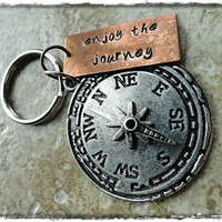 Enjoy The Journey Copper and Silver Compass Charm Hand Stamped Keychain Key fob