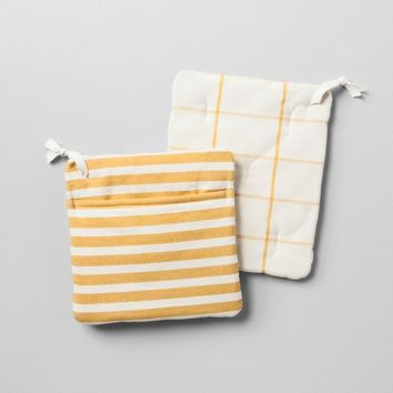 Pot Holder 2pk - Striped Golden Yellow - Hearth & Hand™ with Magnolia