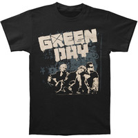 Green Day Men's  Gray Wall 09 Tour T-shirt Black