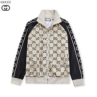 GUCCI new full-body pattern LOGO printed zipper jacket