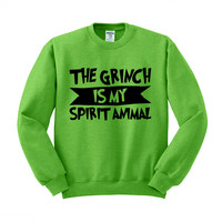 The Grinch is My Spirit Animal (Black) Crewneck Sweatshirt