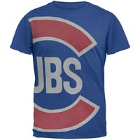 Chicago Cubs - Overgrown Logo Blue Soft T-Shirt
