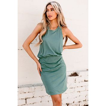 Tell Your Truths Side Ruched Racerback Tank Dress (Dark Sage)