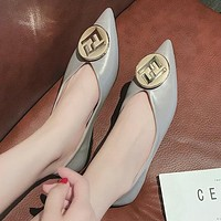 FENDI Fashion Women Casual F Letter Metal Buckle Pointed Flat Single Shoes Grey