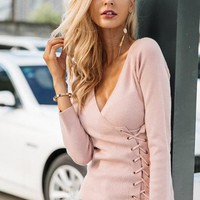 8DESS Lace Up V Neck Knit Winter Top Sweater Pullover