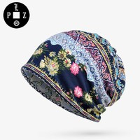 PLZ Women Beanie Europe and the United States Style Floral Hats Elastic Fashion Summer kerchief Print Swag Scarf