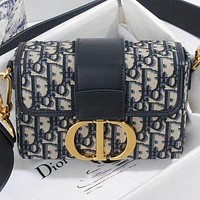 Hipgirls Dior New fashion more letter leather chain shoulder bag crossbody bag Black