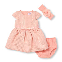 Baby Girls Cap Sleeve Metallic Dot Brocade Dress Headwrap And Bloomers Set | The Children's Place