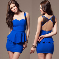 New Womens Sexy Backless Strap Mini Dress Peplum Style Slim Cocktail Party Chic