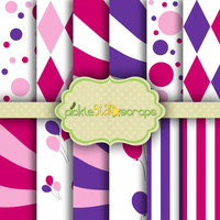 Purple Pink Circus PapersCarnival Vol5 - 12 Digital Printable Scrapbook Papers -12x12inch - Printable Backgrounds - INSTANT DOWNLOAD
