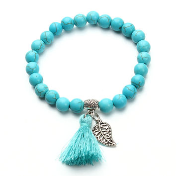 2017 Bohemia Natural Stone Bead Turquoise Bracelet Gold Plated Leaf Tassel Charm Bracelets Bangle For Women Pulseras Mujer