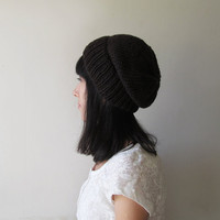 Bitter Chocolate Slouchy Beanie, Brown Hand Knit Chunky Slouch Hat, Women Knit Hat, Winter Accessories, Wool Blend, For Her, Made to Order