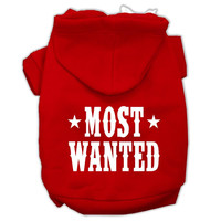 Most Wanted Screen Print Pet Hoodies Red Size XXXL (20)