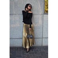 Gold Pleated Skirt