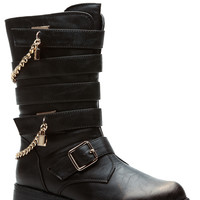 On Lock Chained Faux Leather Shimmered Biker Boots