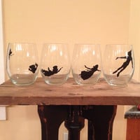 Peter Pan Silhouette Stemless Wineglasses