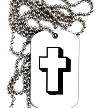 Simple Cross Design Black Adult Dog Tag Chain Necklace by TooLoud