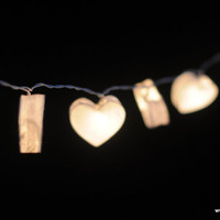 Angel white color love heart mulberry paper handmade string light patio garland hanging wedding party home decor romantic valentine